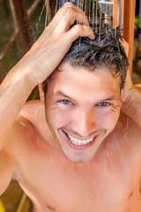 summer freshness showering male