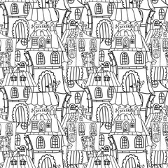 Houses monochrome seamless pattern