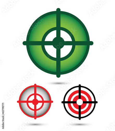 three different colored targets