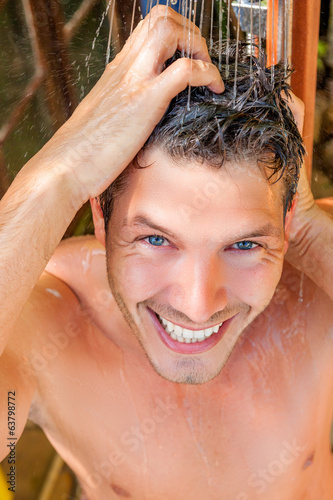 summer freshness showering male