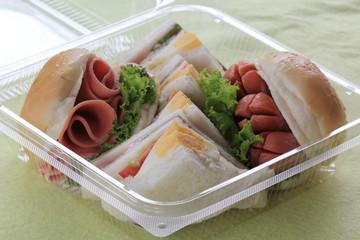 Hamburger and sandwich in box