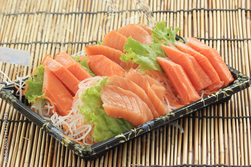 Fresh Salmon seshimi set in the box