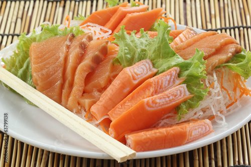 Fresh Salmon seshimi set on the plate