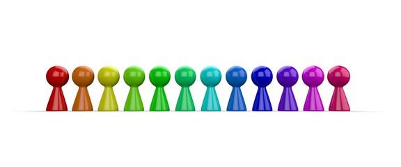 Regenbogen Spielfiguren in Reihe