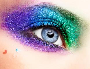 Holiday spangled eye makeup