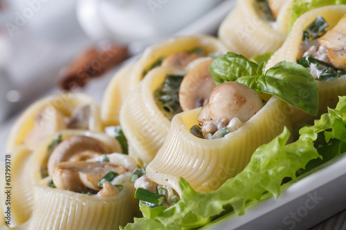 Lumakoni Italian pasta with mushrooms, cheese on a white dish