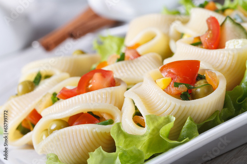 lumakoni pasta stuffed with fresh vegetables