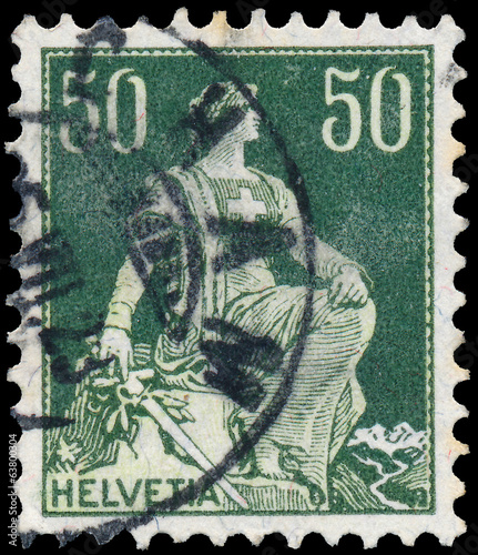 Stamp printed by Switzerland, shows Helvetia