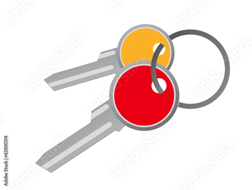 two metal keys