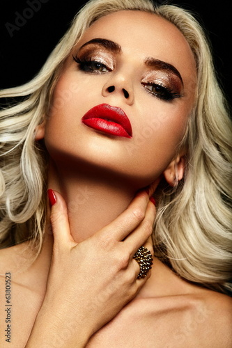 beautiful sexy blond model with red lips
