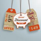 3 Vintage Price Sticker Piggy Bank Silver Background