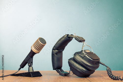 Microphone and headphones on table