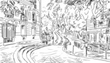 Street in Paris - sketch  illustration - 63801502