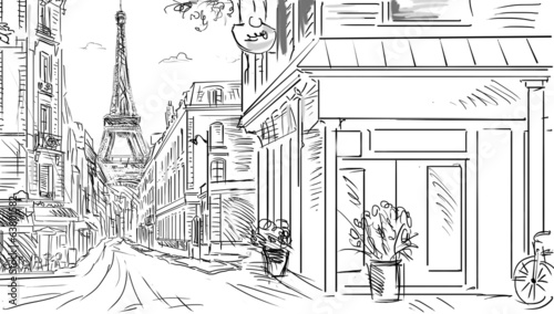 Street in Paris - sketch illustration © ZoomTeam