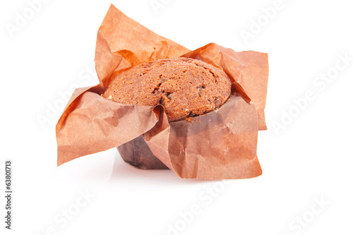 chocolate cupcake isolated on white, food photo