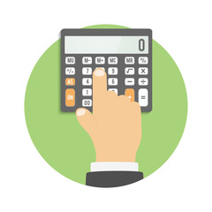 Calculator icon. Hand considers on the calculator
