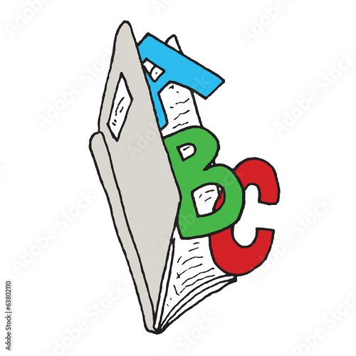 open Book with the letters ABC coming out of it, Hand Drawn