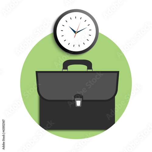 Briefcase and clock icons