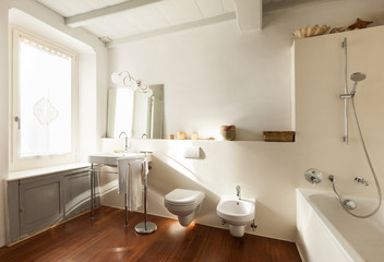 Nice bathroom, interior of a loft