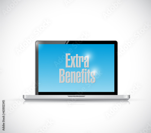extra benefits computer sign illustration design