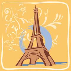 Illustration Tour Eiffel avec Décor Fleurs et Fond