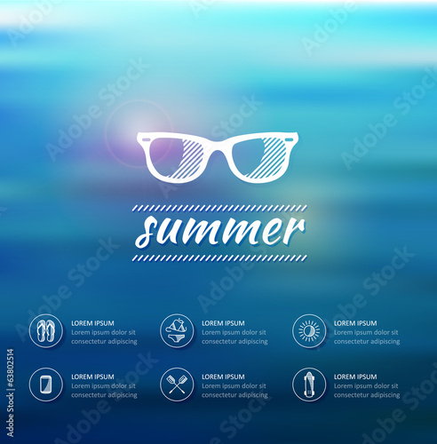 Abstract vector background. summer icon set. water design.