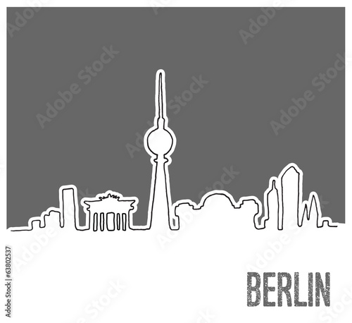 Cute Hand drawn Skyline of Berlin City, Doodle Style