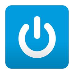Etiqueta tipo app azul simbolo power