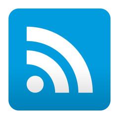 Etiqueta tipo app azul simbolo RSS