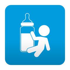 Etiqueta tipo app azul simbolo biberon