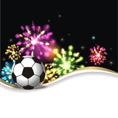 Hintergrund mit Feuerwerk und Fussball
