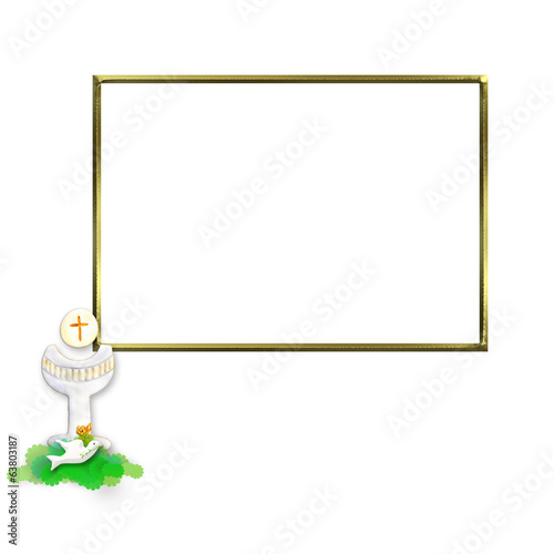 Communion Invitation Chalice and dove photo frame