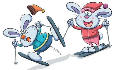 Bunny Playing Skiing