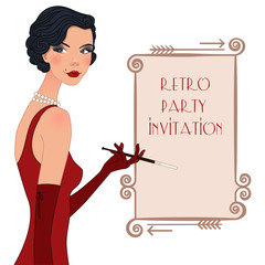 Retro flappper girl, party invitation poster