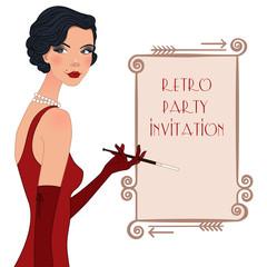 Retro flappper girl, party invitation poster