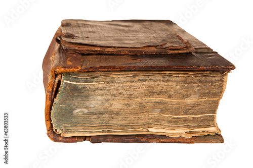 old antique book isolated on white background