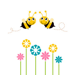 Cute beautiful bees with colorful flowers isolated on white