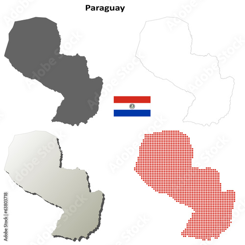 Blank detailed contour maps of Paraguay