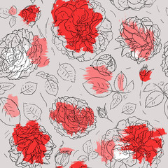 Flowers background. Seamless pattern