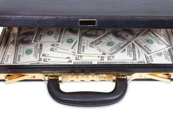 Open case with money