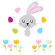 Cute easter bunny with eggs isolated on white