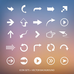 Arrows signs and vector background