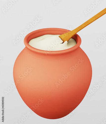 Clay pot with sour creame, milk porridge or yogurt