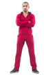 Young sportdman in red suit isolated on white