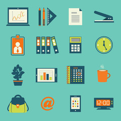 Business office stationery icons set