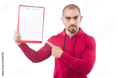 Young sportsman with binder  isolated on white