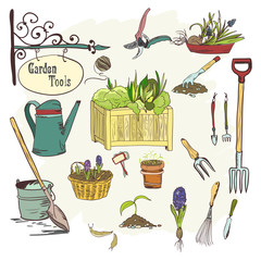 Sef of gardening tools