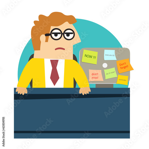 Worried angry office worker at the desk