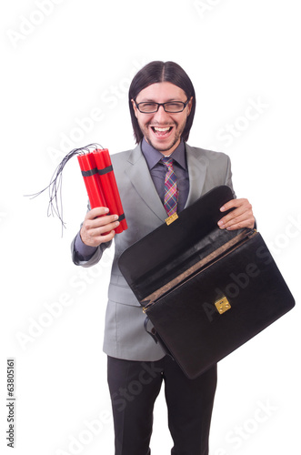 Businessman with red sticks of dynamite in terrorist  concept is