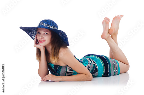 Pretty woman on vacation isolated on white